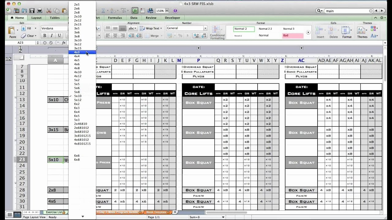 Personal Trainer Workout Plan Template Beautiful Pt Fitness Excel Workout Template From Excel Training