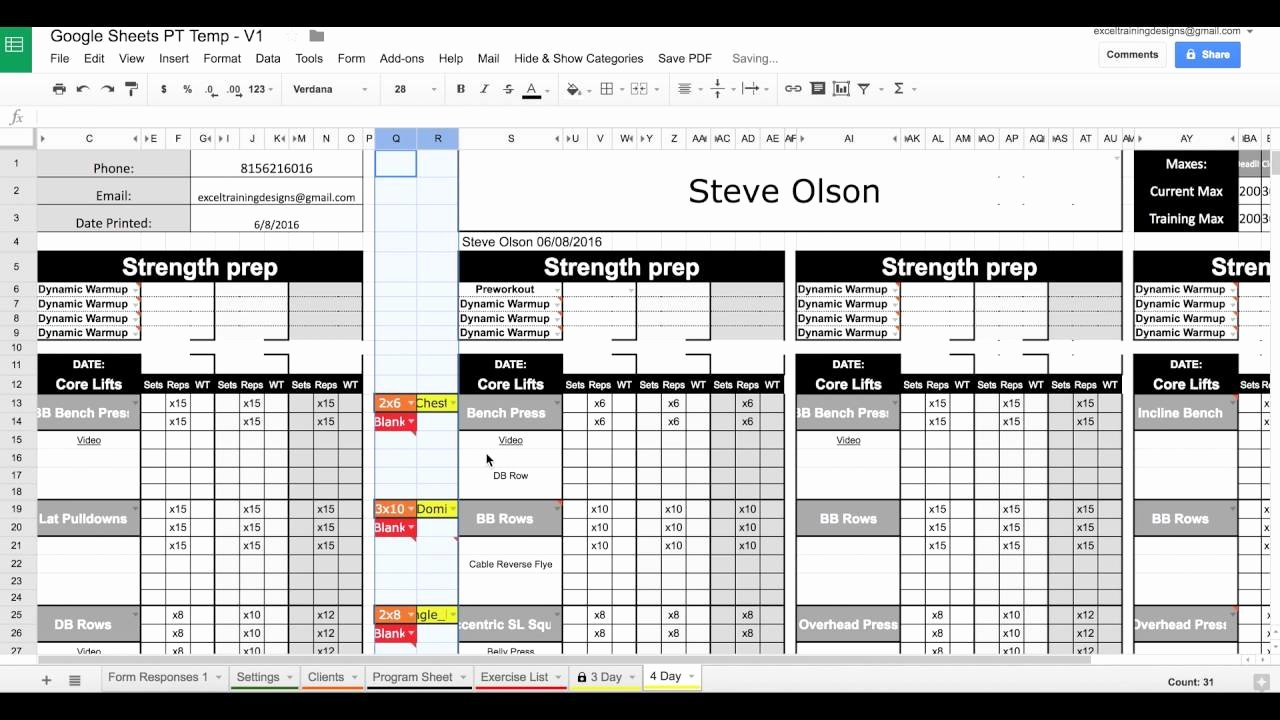 Personal Trainer Workout Plan Template Elegant Google Sheets Personal Training Templates Exercise