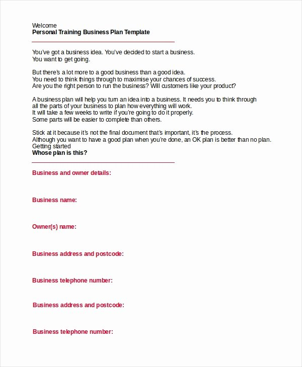 Personal Trainer Workout Plan Template Lovely 28 Business Plan Templates Word Pdf Docs