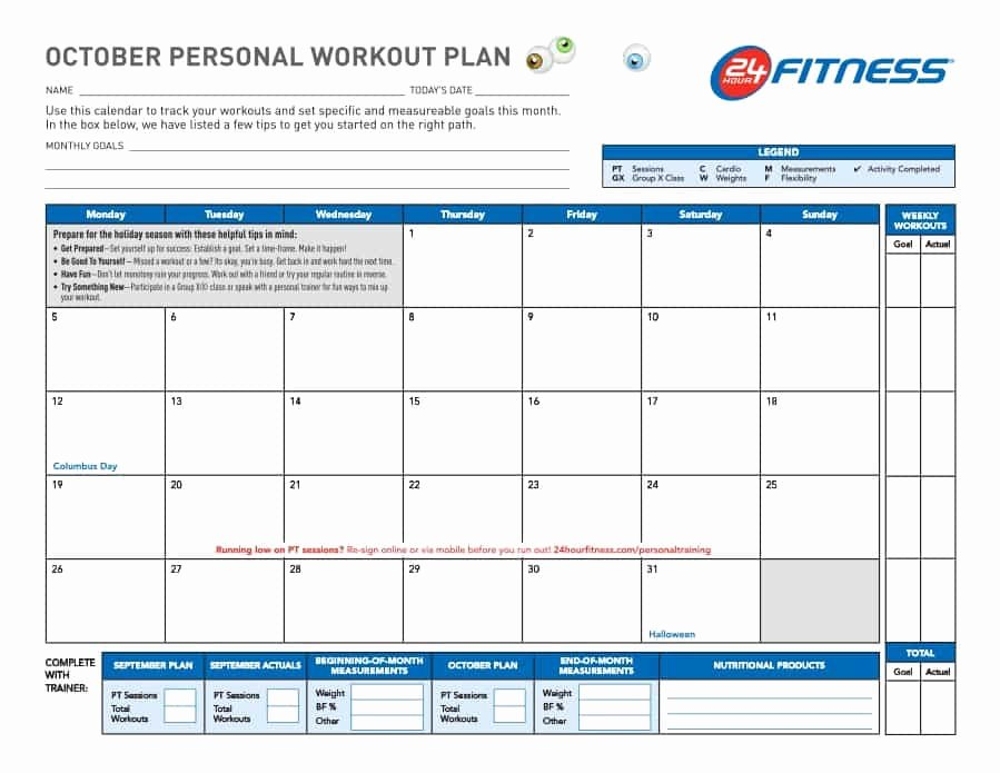 Personal Trainer Workout Plan Template Lovely 40 Effective Workout Log & Calendar Templates Template Lab