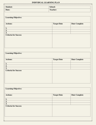 Personalized Learning Plans Template Inspirational Individual Learning Plan Template by Moedonnelly
