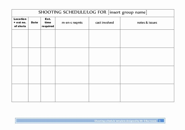 Photo Shoot Schedule Template Beautiful Shooting Schedule Log for Insert Group Name