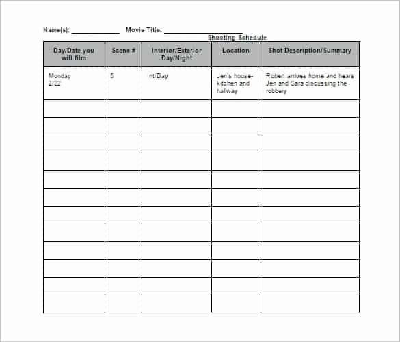 Photo Shoot Schedule Template Best Of Shooting Schedule Templates Find Word Templates