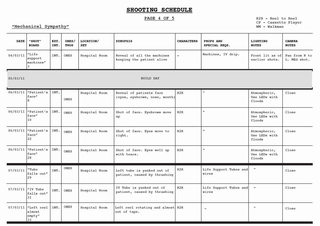 Photo Shoot Schedule Template Elegant Shooting Schedule Blood Rush Productions