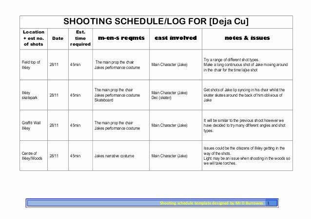 Photo Shoot Schedule Template Luxury Shooting Schedule Shoot 3