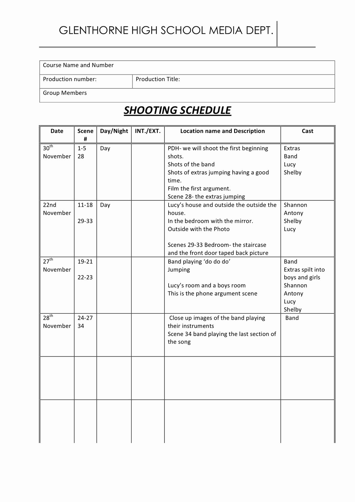 Photo Shoot Schedule Template New Shelby norman P12 Shooting Schedule