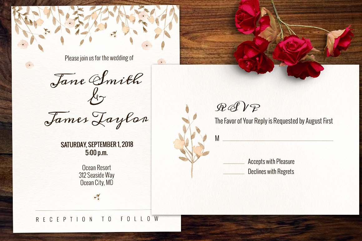 Photoshop Wedding Invitation Template Beautiful Watercolour Wedding Invitation Invitation Templates