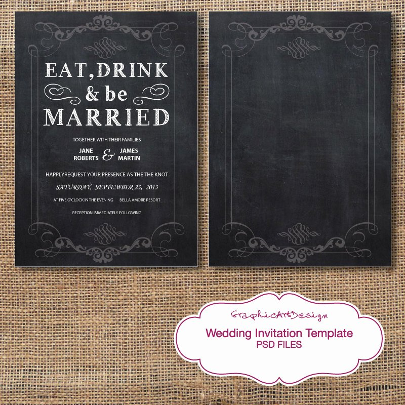 Photoshop Wedding Invitation Template Unique Chalkboard Wedding Invitation Card Shop by