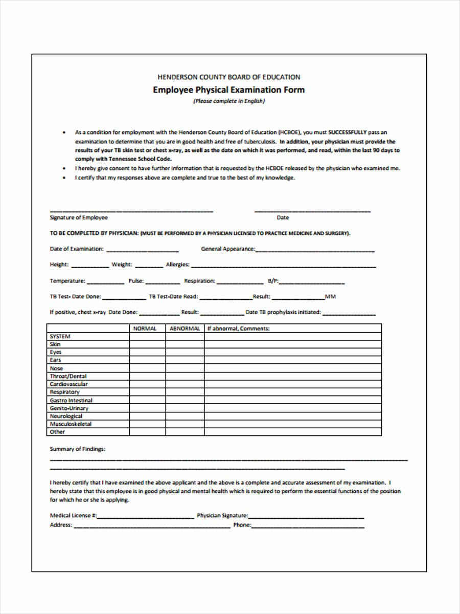 Physical Exam form Template Awesome Free 6 Physical Examination form In Samples Examples