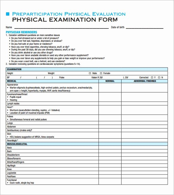 Physical Exam form Template Beautiful Free 7 Sample Physical Exam Templates In Pdf Psd