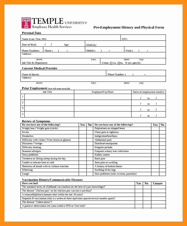Physical Exam form Template Fresh 10 11 Physical Exam forms Templates