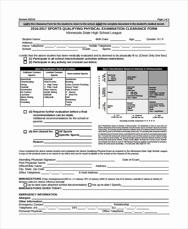 Physical Exam form Template Fresh 9 Sample Physical Exam forms Pdf