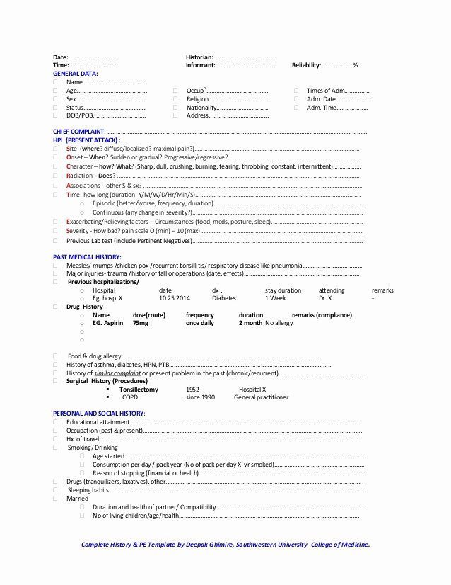 Physical Exam form Template Fresh Classical Medical History and Physical Examination Template