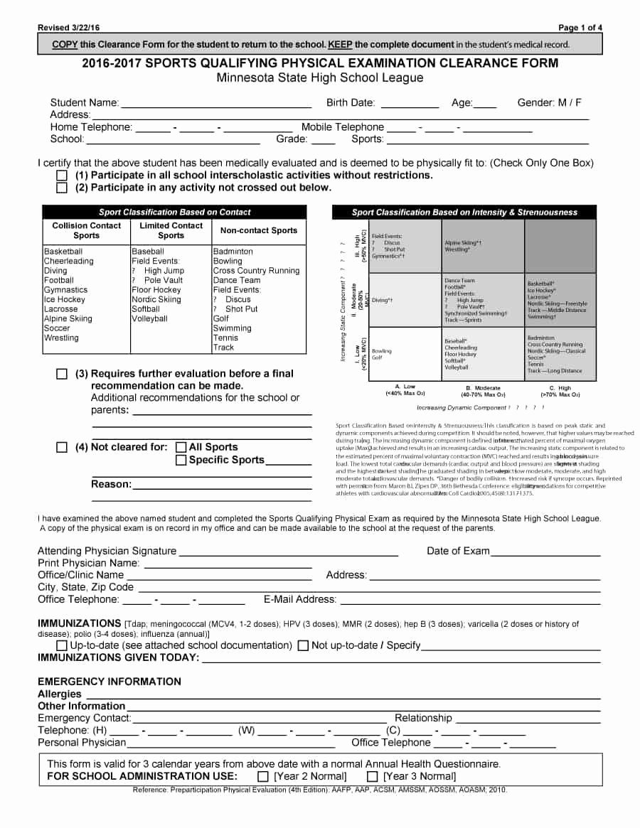 Physical Exam form Template Lovely 43 Physical Exam Templates & forms [male Female]