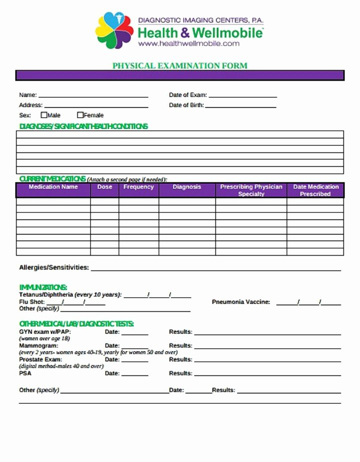 Physical Exam form Template Unique 8 Yearly Physical form Templates Pdf