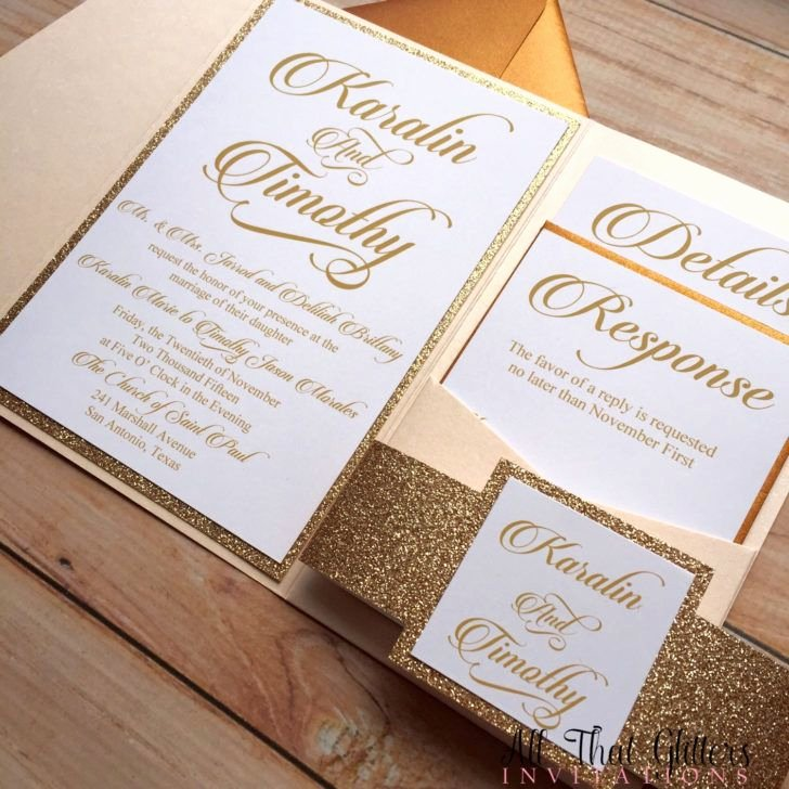 Pocket Wedding Invitation Template Awesome Wedding Pocket Glitter Wedding Invitation Template