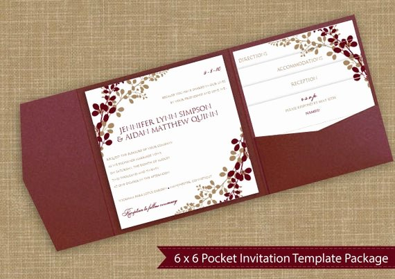 Pocket Wedding Invitation Template Best Of 6x6 Pocket Wedding Invitation Template Set by