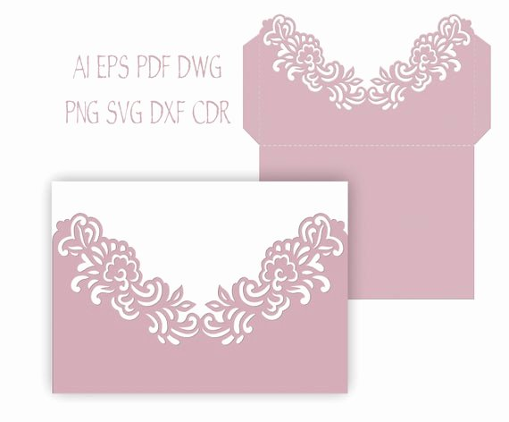 Pocket Wedding Invitation Template Elegant 5x7 Floral Wedding Invitation Pocket Envelope Svg