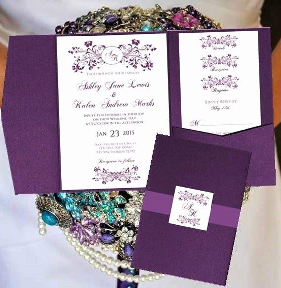 Pocket Wedding Invitation Template Fresh Wedding Pocket Invitation Templates Monogram by