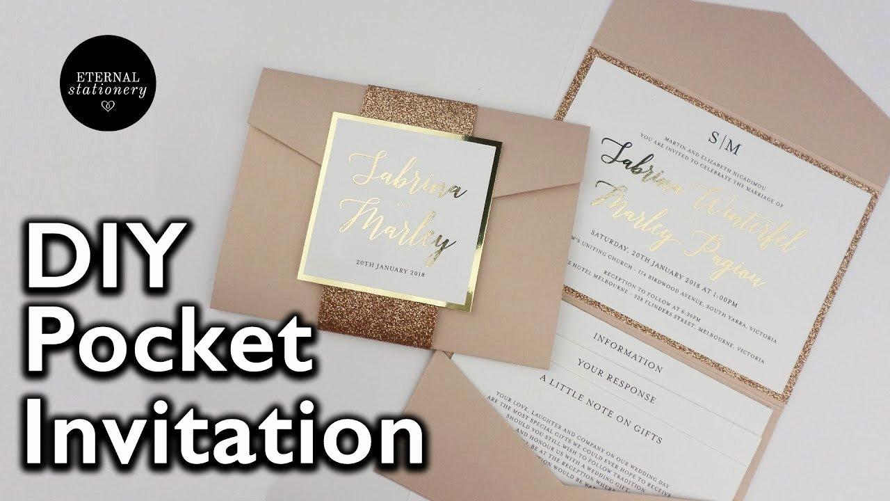 Pocket Wedding Invitation Template Inspirational Diy Gold Foil Pocket Folio Wedding Invitation with