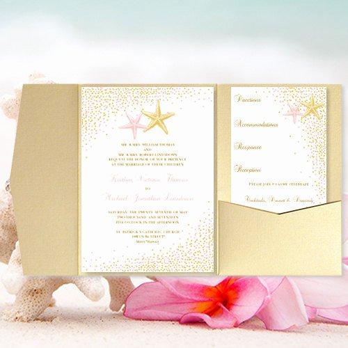 Pocket Wedding Invitation Template Inspirational Diy Pocket Fold Beach Wedding Invitation Confetti
