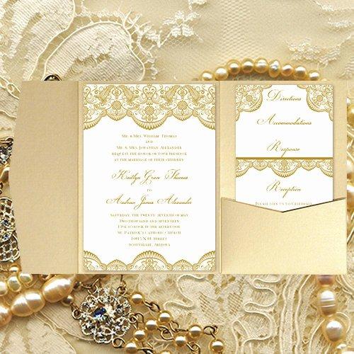 Pocket Wedding Invitation Template Inspirational Pocket Fold Wedding Invitations Vintage Lace by