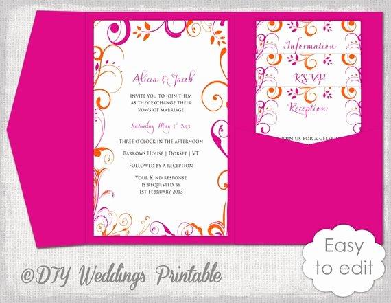 Pocket Wedding Invitation Template Lovely Pocket Wedding Invitation Template Diy Pocketfold Wedding