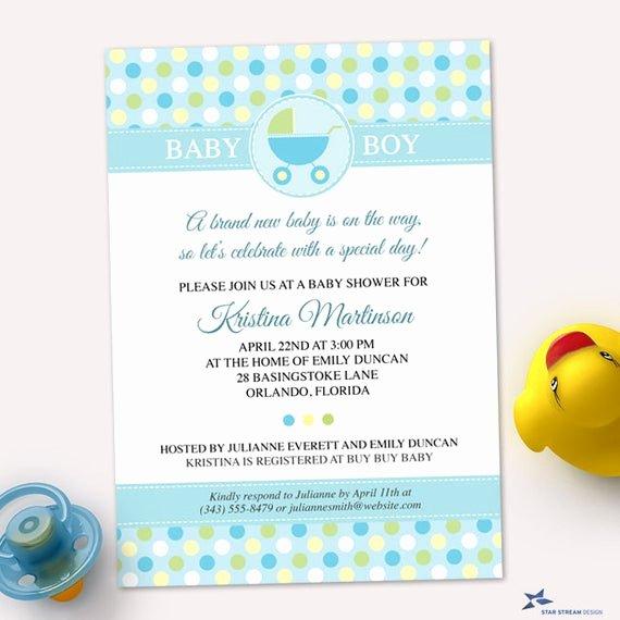 Polka Dot Invitation Template Beautiful Printable Blue Polka Dot Pram Baby Shower Invitation