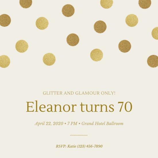Polka Dot Invitation Template Best Of Customize 373 70th Birthday Invitation Templates Online