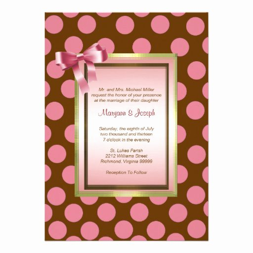 "Polka Dot Invitation Template Fresh P5 Pink and Brown Polka Dot Invitation Template 5"" X 7"