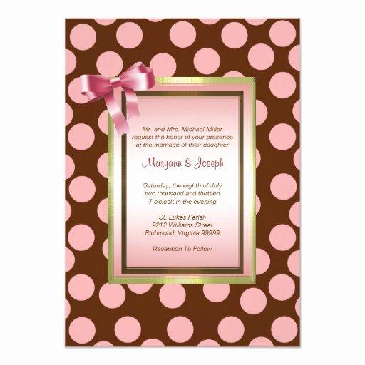 Polka Dot Invitation Template Fresh Pink and Brown Polka Dot Invitation Template