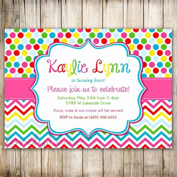 Polka Dot Invitation Template Inspirational Rainbow Birthday Invitation Polka Dots Chevron 1st Birthday