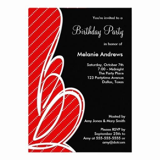 red polka dot black birthday party template invitation