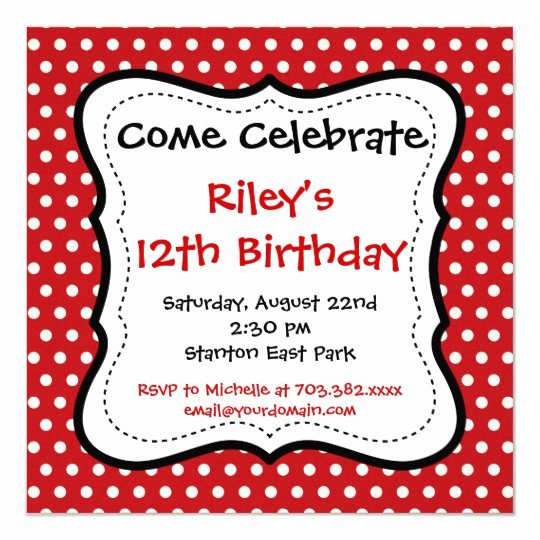 Polka Dot Invitation Template Lovely Red Black Polka Dots Birthday Party Invitations
