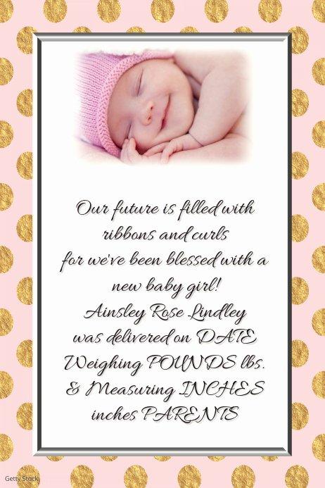 Polka Dot Invitation Template New Pink Gold Polka Dot Baby Girl Announcement Invitation Card