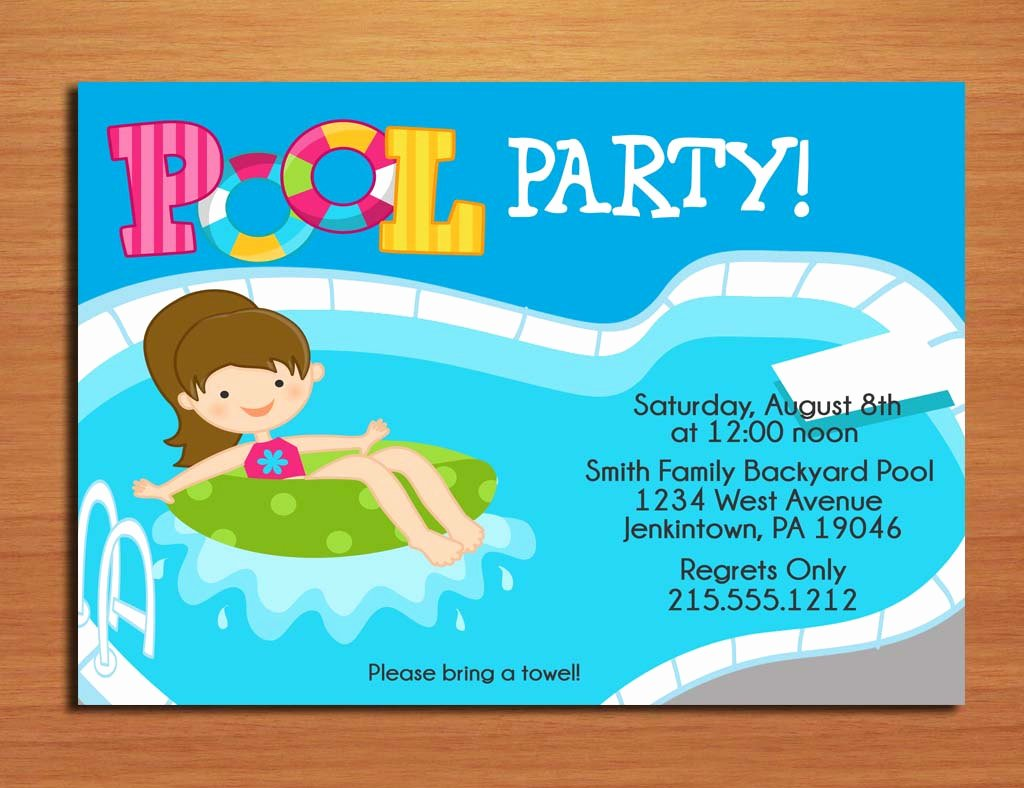 Pool Party Invitation Template Free Beautiful Free Printable Birthday Pool Party Invitations