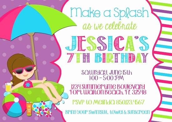 Pool Party Invitation Template Free Beautiful Free Printable Pool Party Birthday Invitations – Free