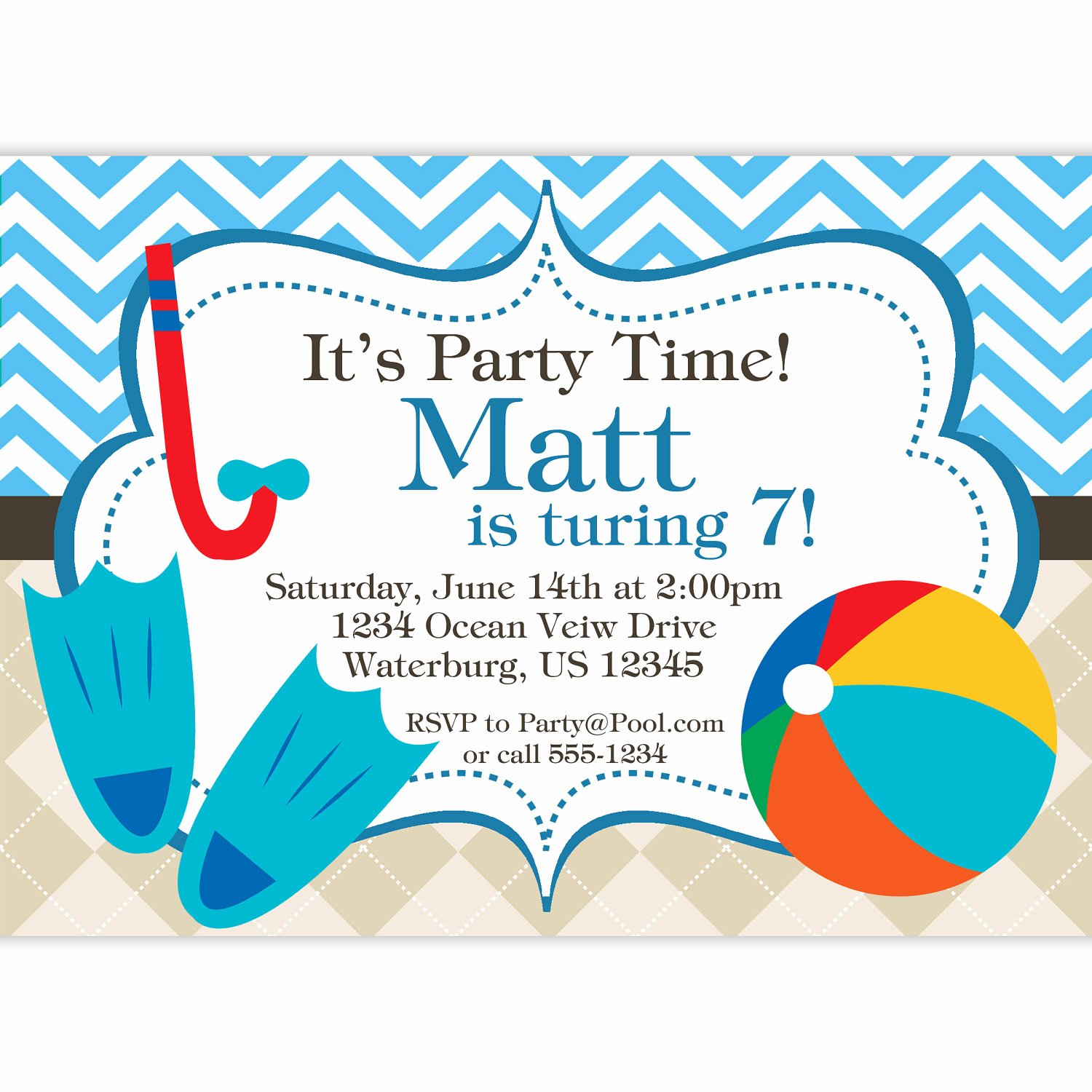 Pool Party Invitation Template Free Elegant Free Printable Birthday Pool Party Invitations
