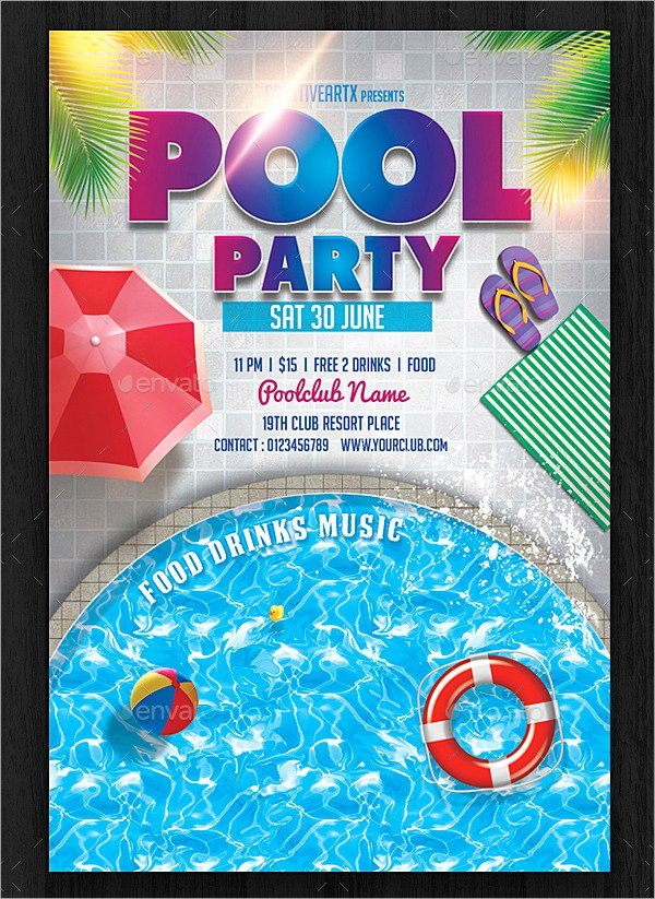 Pool Party Invitation Template Free Inspirational 33 Printable Pool Party Invitations Psd Ai Eps Word