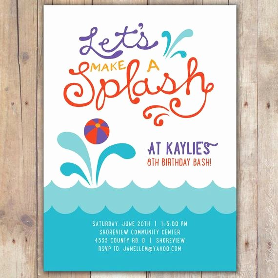 Pool Party Invitation Template Free Inspirational Splash Custom Digital Birthday Pool Party Invitation Invite