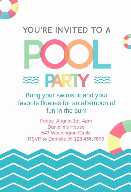 Pool Party Invitation Template Free Luxury Fun afternoon Pool Party Invitation Template Free