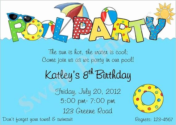 Pool Party Invitation Template Free Luxury Pool Party Invitation Pool Birthday Invitation by