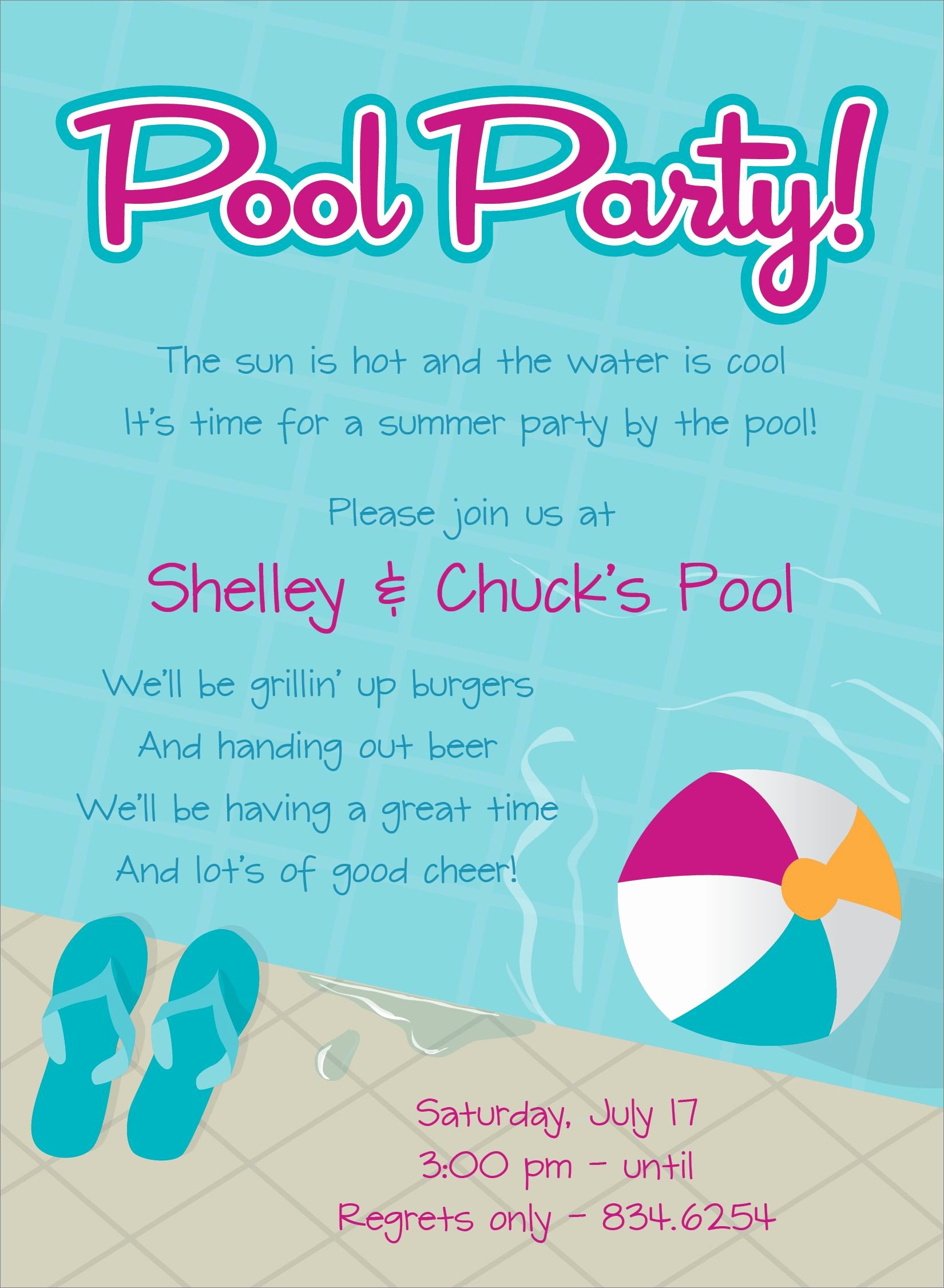 Pool Party Invitation Template Free Unique Pool Party Free Line Invitations
