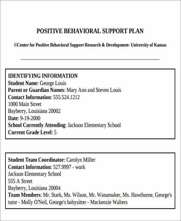Positive Behavior Support Plan Template Fresh Behavior Intervention Plan Example 6 Examples In Word Pdf
