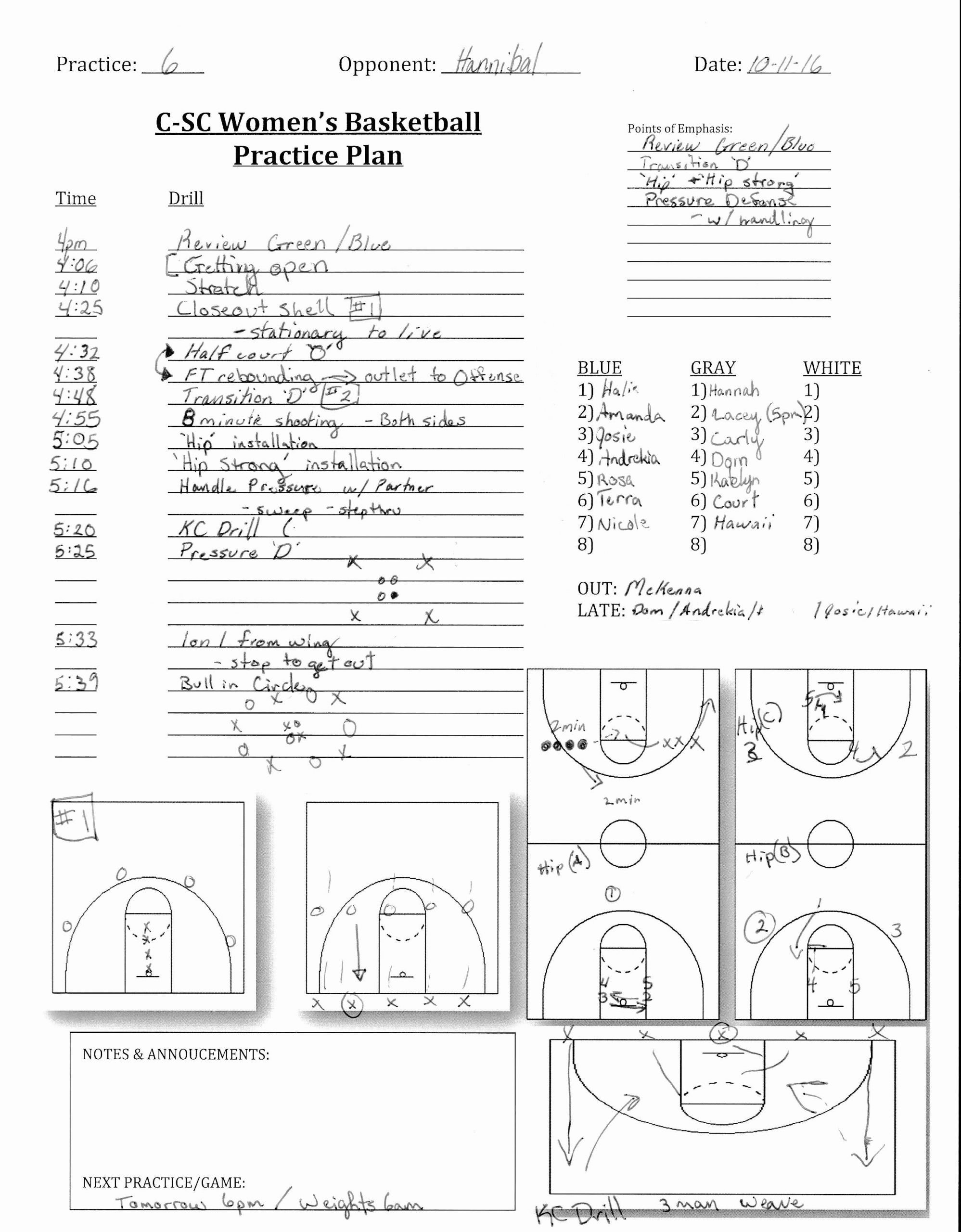 Practice Plan Template Basketball New Midwest Elite Basketball Culver Stockton Wbb Practice Plan
