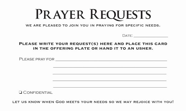Prayer Request form Template New Prayer Request Card Pack Of 50