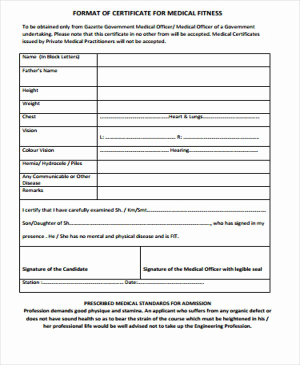 Pre Employment Physical form Template Elegant 8 Fit to Work Certificate Templates In Pdf