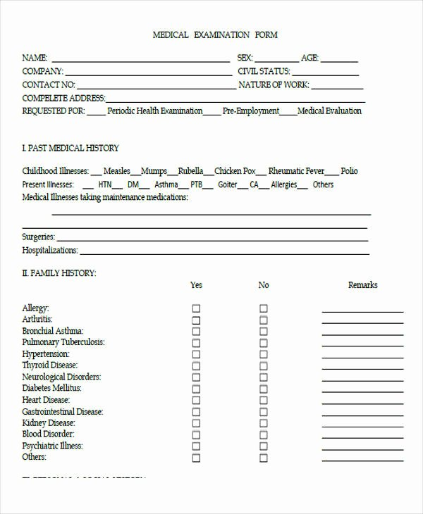 Pre Employment Physical form Template Elegant Pre Employment Medical form – Medical form Templates