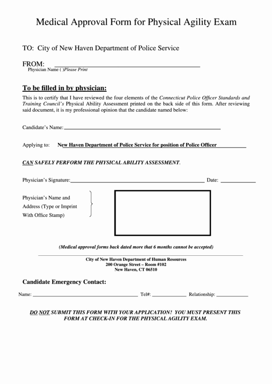 Pre Employment Physical form Template Fresh Medical Approval form for Physical Agility Exam Printable