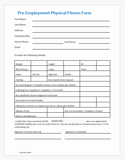 Pre Employment Physical form Template Fresh Pre Employment Physical Fitness form
